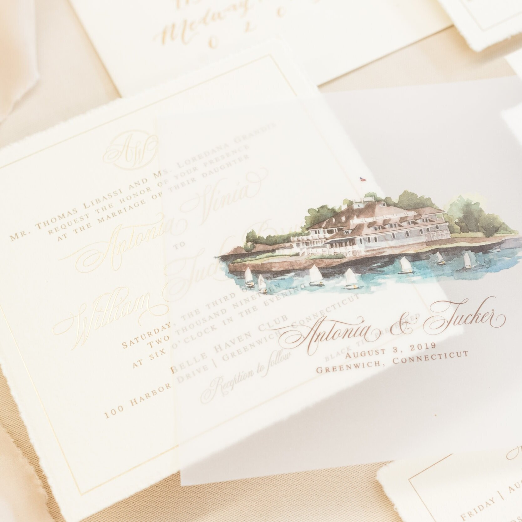 BELLE HAVEN COUNTRY CLUB WATERCOLOR WEDDING INVITATIONS