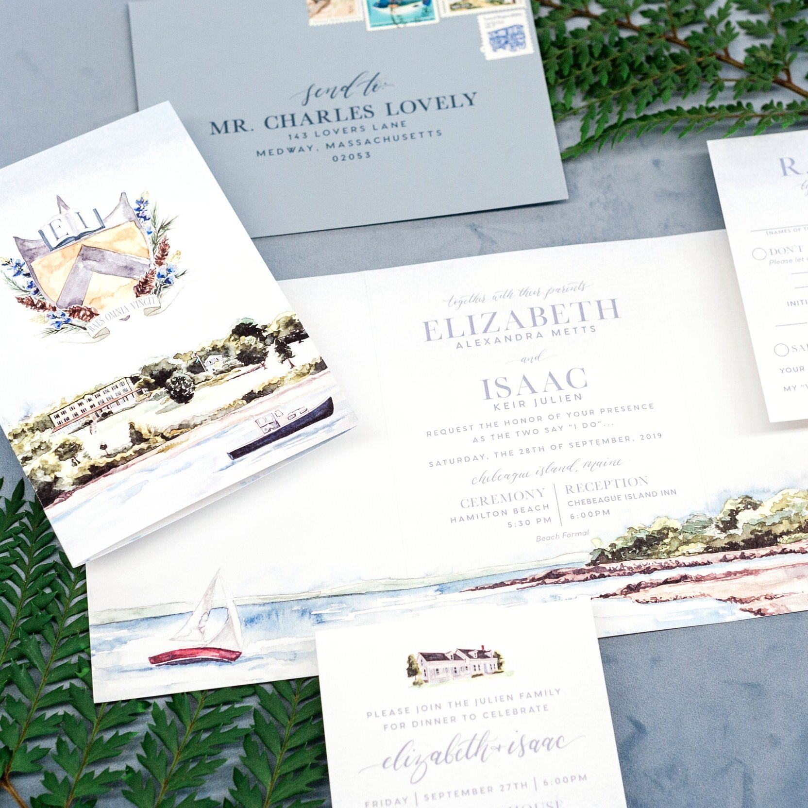 CHEBEAGUE ISLAND INN WATERCOLOR WEDDING INVITATIONS