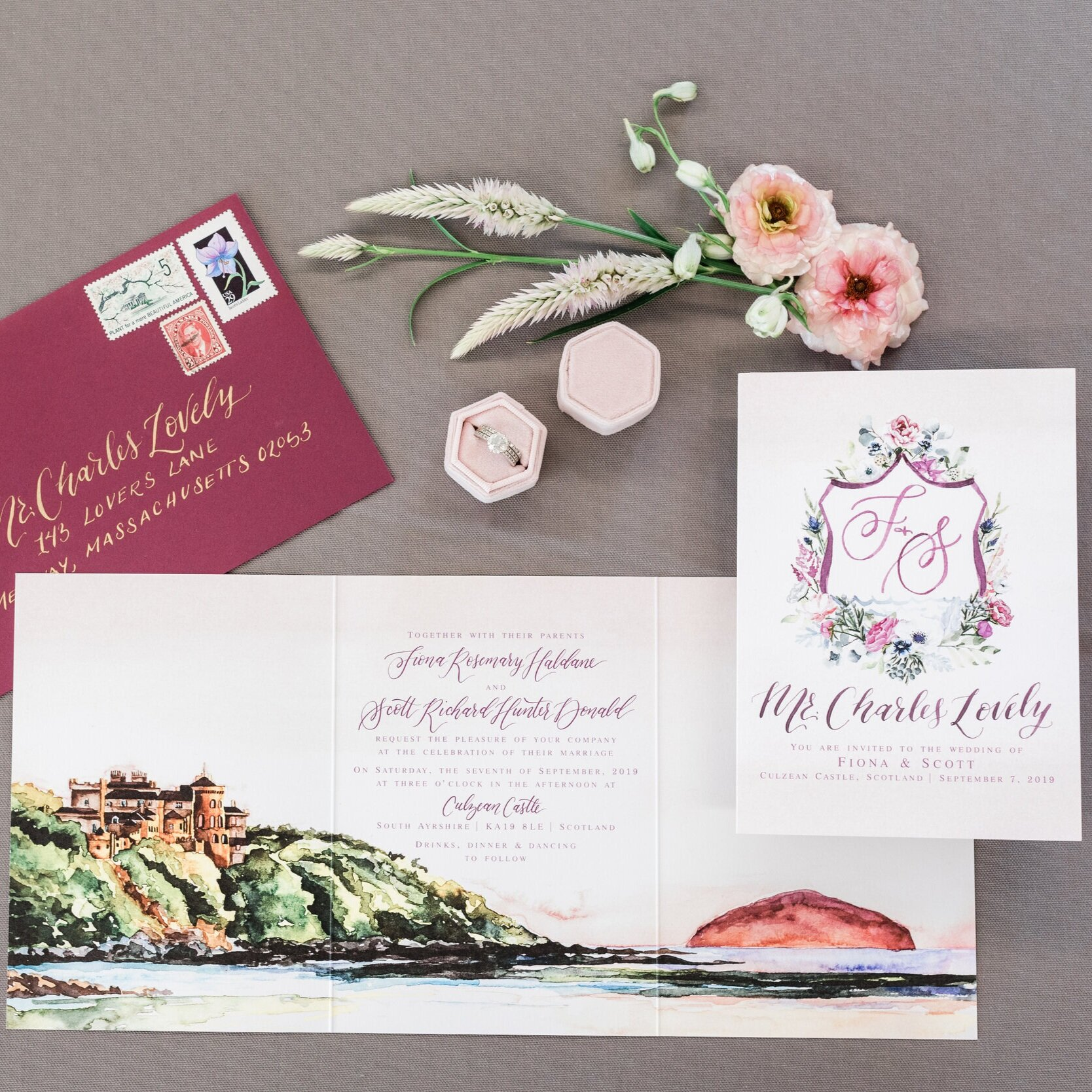 CULZEAN CASTLE SCOTLAND WATERCOLOR WEDDING INVITATIONS
