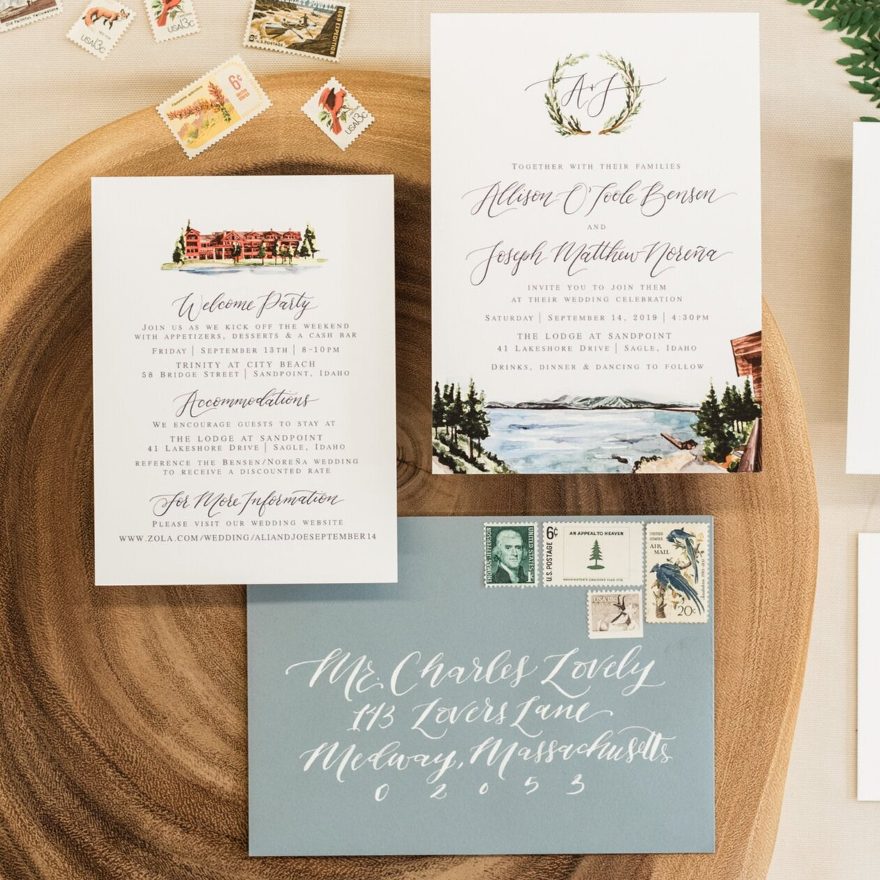 LODGE AT SANDPOINT WATERCOLOR WEDDING INVITATIONS
