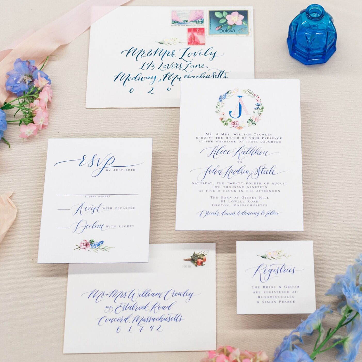 BLUE AND PINK FLORAL WREATH WATERCOLOR WEDDING INVITATIONS