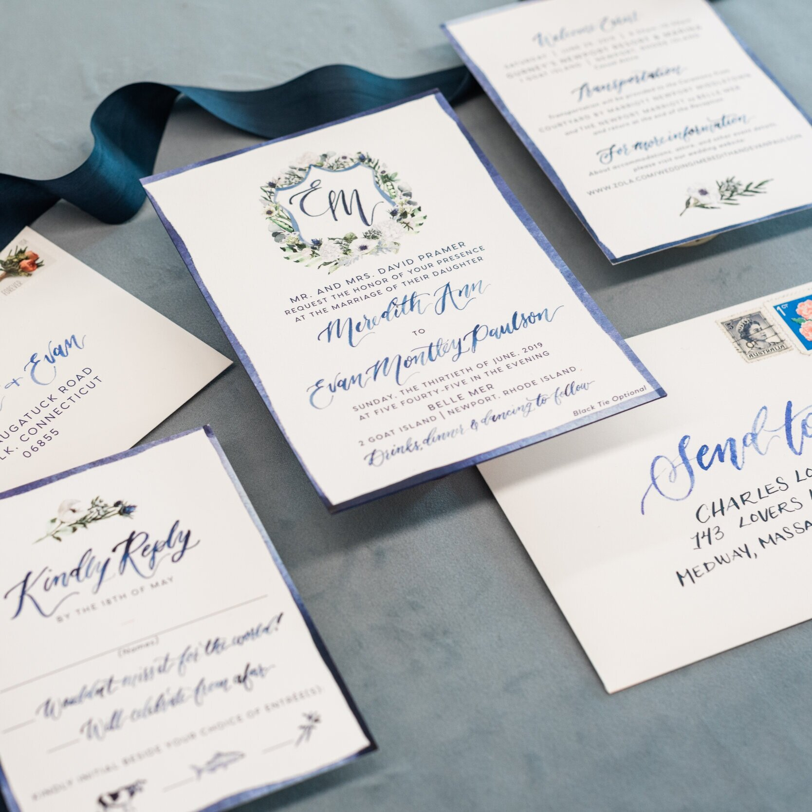 WATERCOLOR CREST NAVY AND WHITE WEDDING INVITATIONS