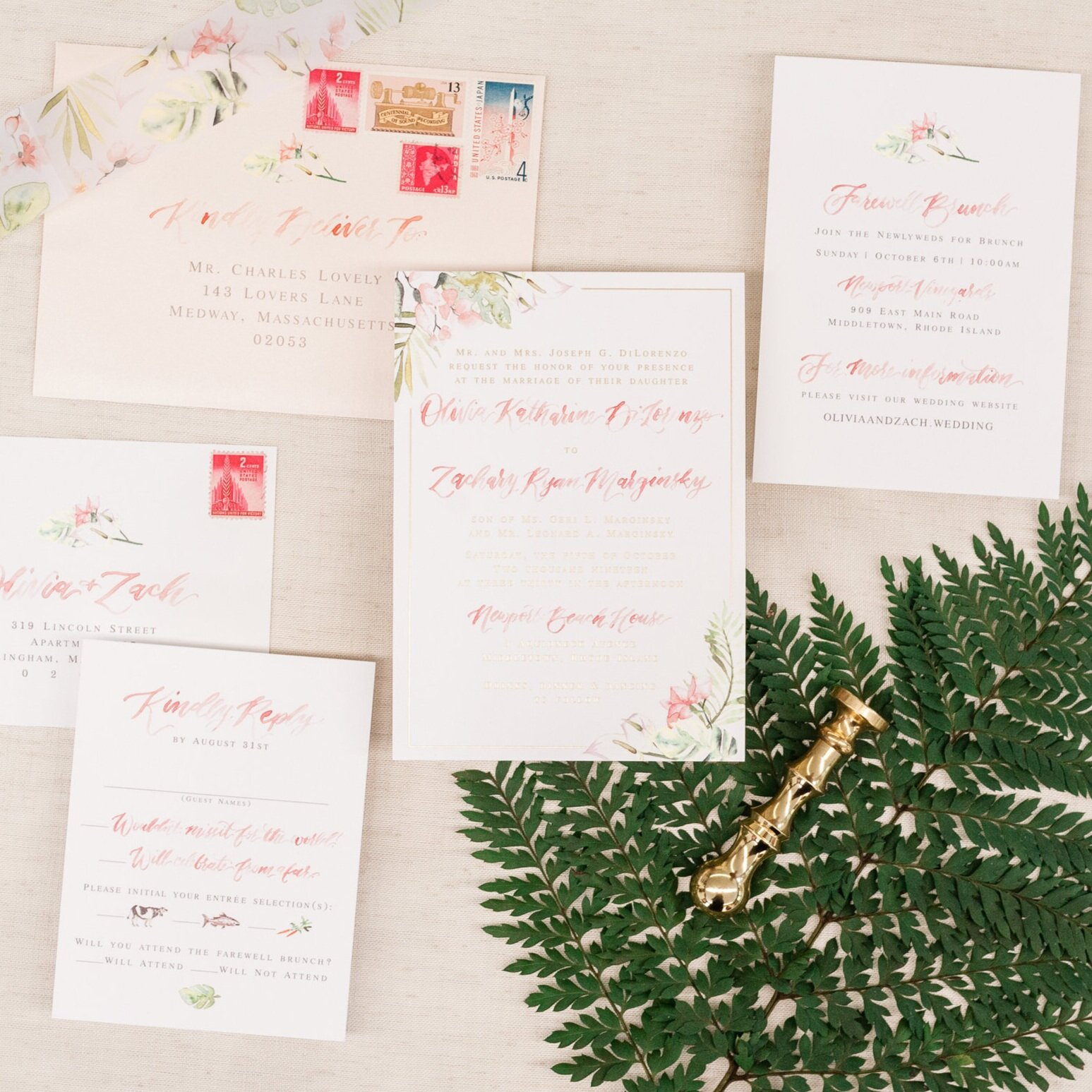 PINK TROPICAL FLORAL WATERCOLOR WEDDING INVITATIONS