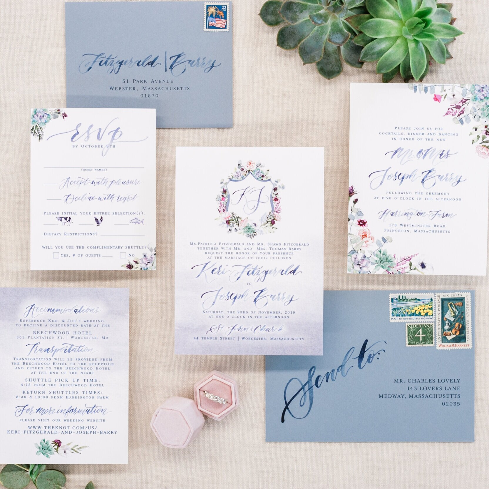 DUSTY BLUE AND PINK WATERCOLOR CREST WEDDING INVITATIONS