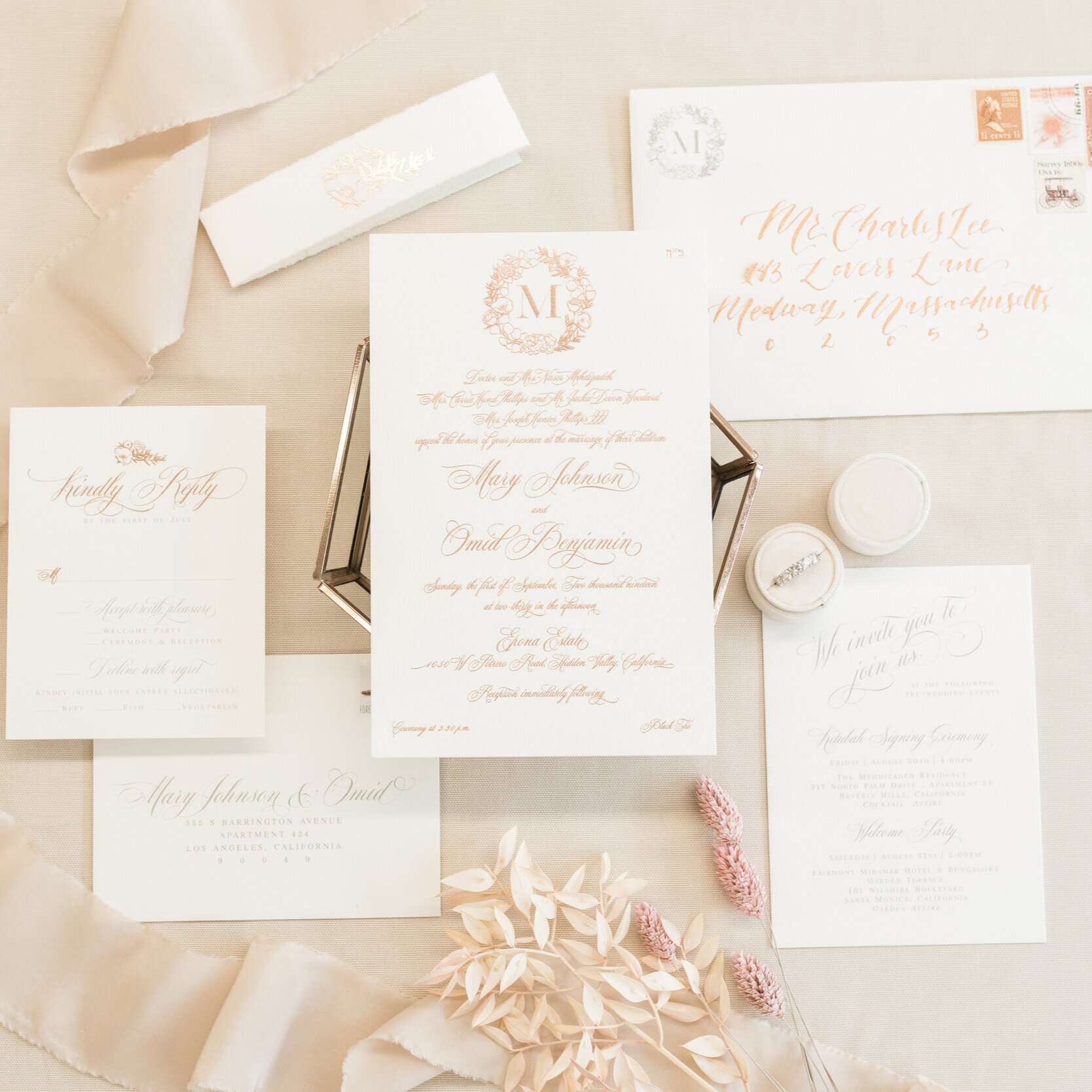 TRADITIONAL ROSE GOLD FOIL CALLIGRAPHY WEDDING INVITATIONS