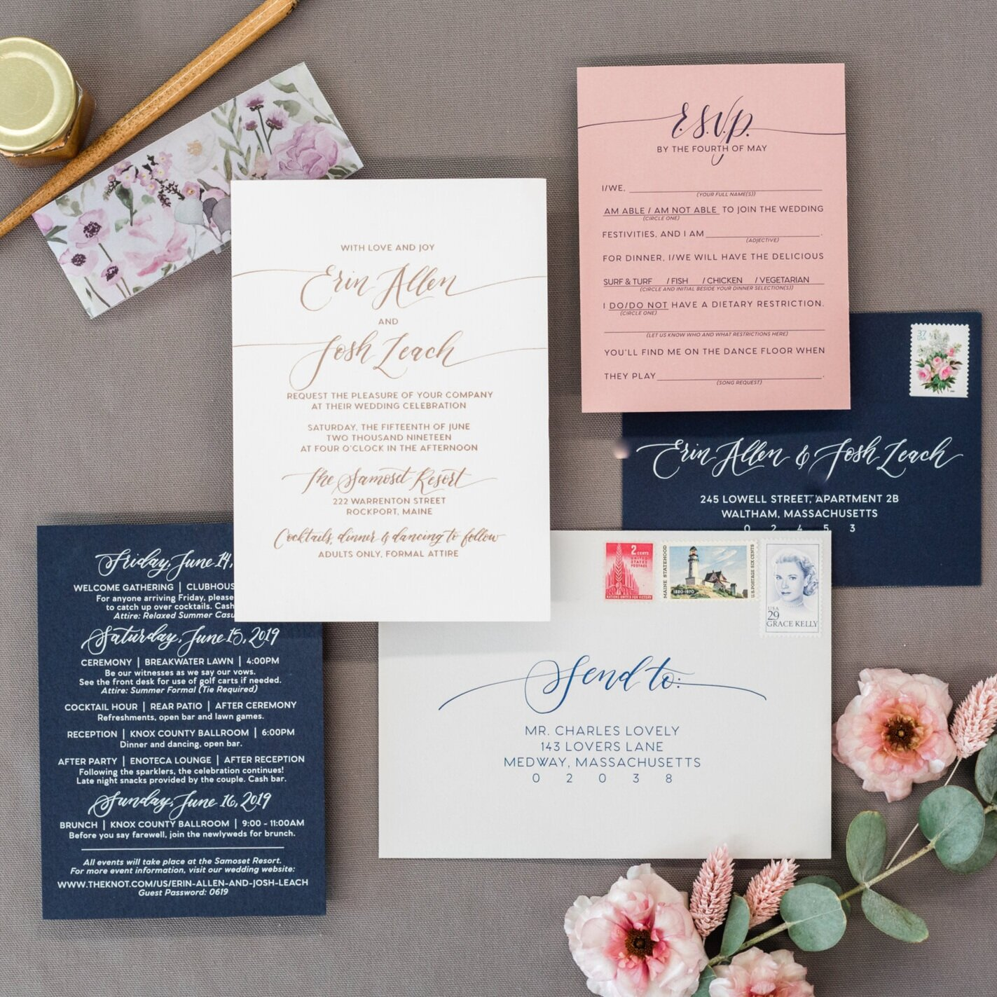 MODERN FOIL AND COLORED PAPERS WITH FLORAL VELLUM BAND WEDDING INVITATIONS