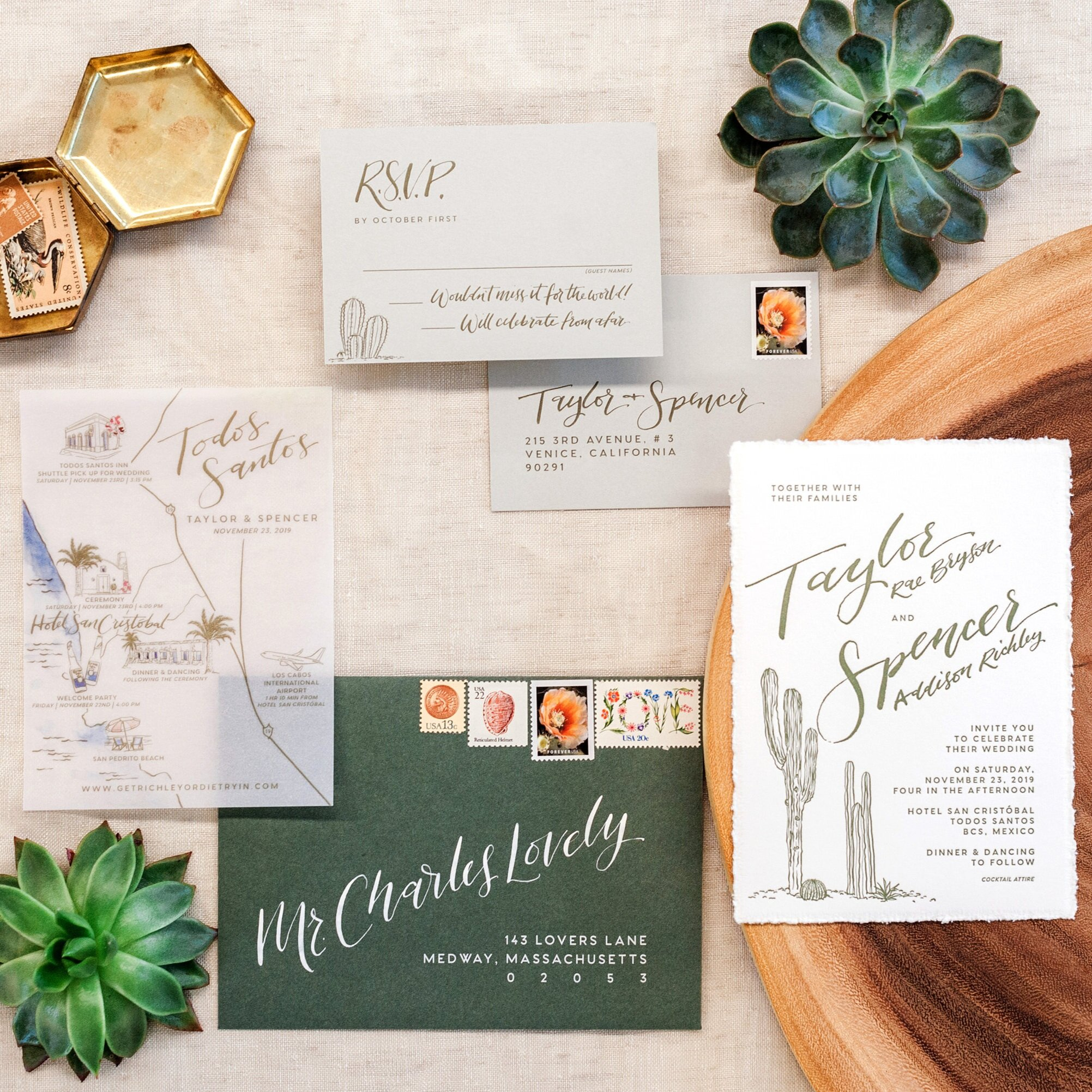 MODERN CACTUS MEXICO LETTERPRESS AND DECKLE EDGE WEDDING INVITATIONS