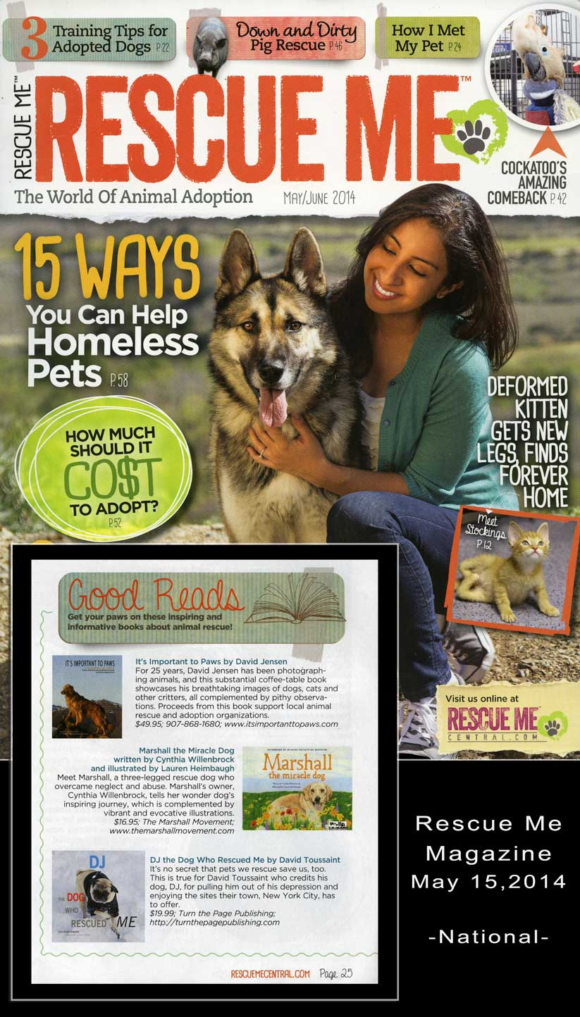 Rescue Magazine is a pioneering publication.   You have to check it out.  I understand they will soon have an online subscription.  But I really like the hard copy.  It's wonderful seeing the success stories and heroes (people and animals) that are usually behind the scenes.   The publishers were kind enough to put a mention of IITP in the May 2014 edition of Rescue Me.  Thank you so very much!!!!