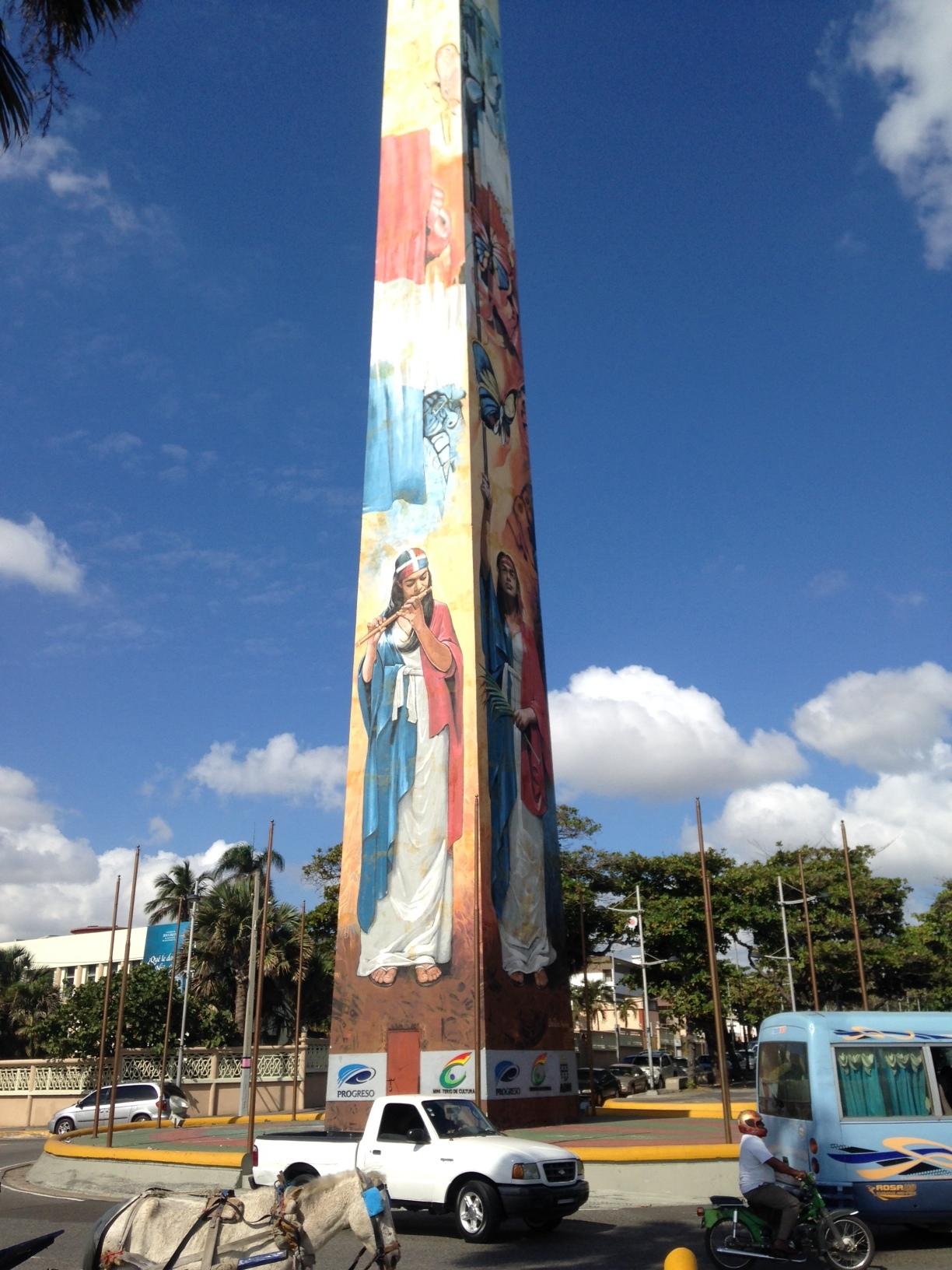 One of the obelisks in Santo Domingo's Malecón