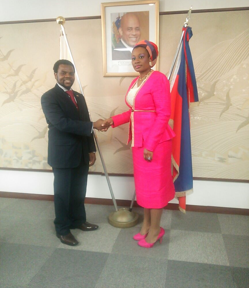 Ambassador of Haiti in Japan,  Judith Exavier  with Nixon Nembaware, a Zimbabwean expatriate in Tokyo