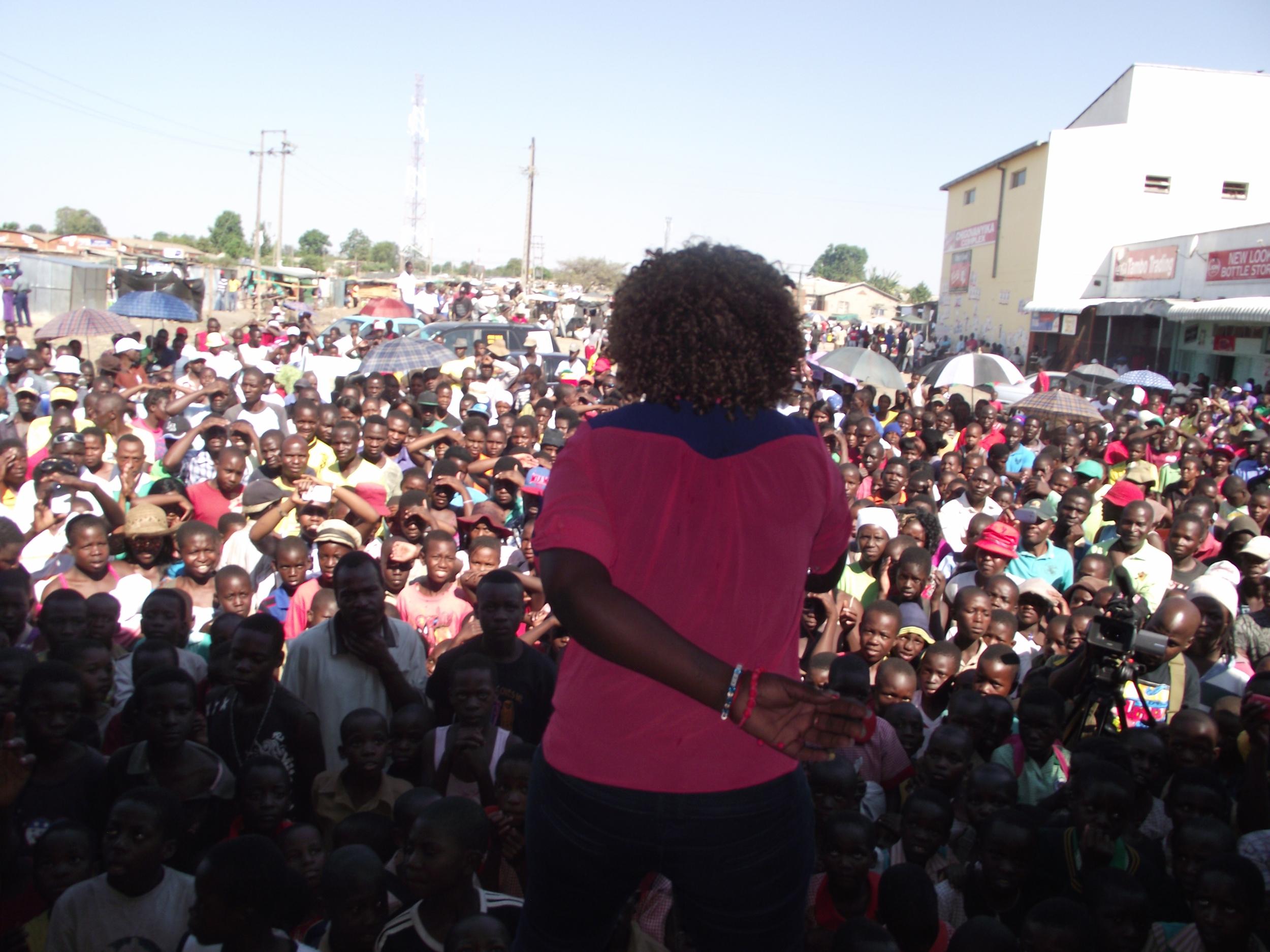 Lady Sqanda, a leading female chanter the ZimDancehall scene performs at Zimbabwe Youth Festival, 2012.
