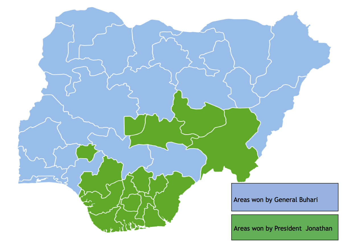 """""""Nigeria presidential election 2015 - blue and green"""" by Varavour - Own work. Licensed under CC BY-SA 4.0 via Wikimedia Commons -"""