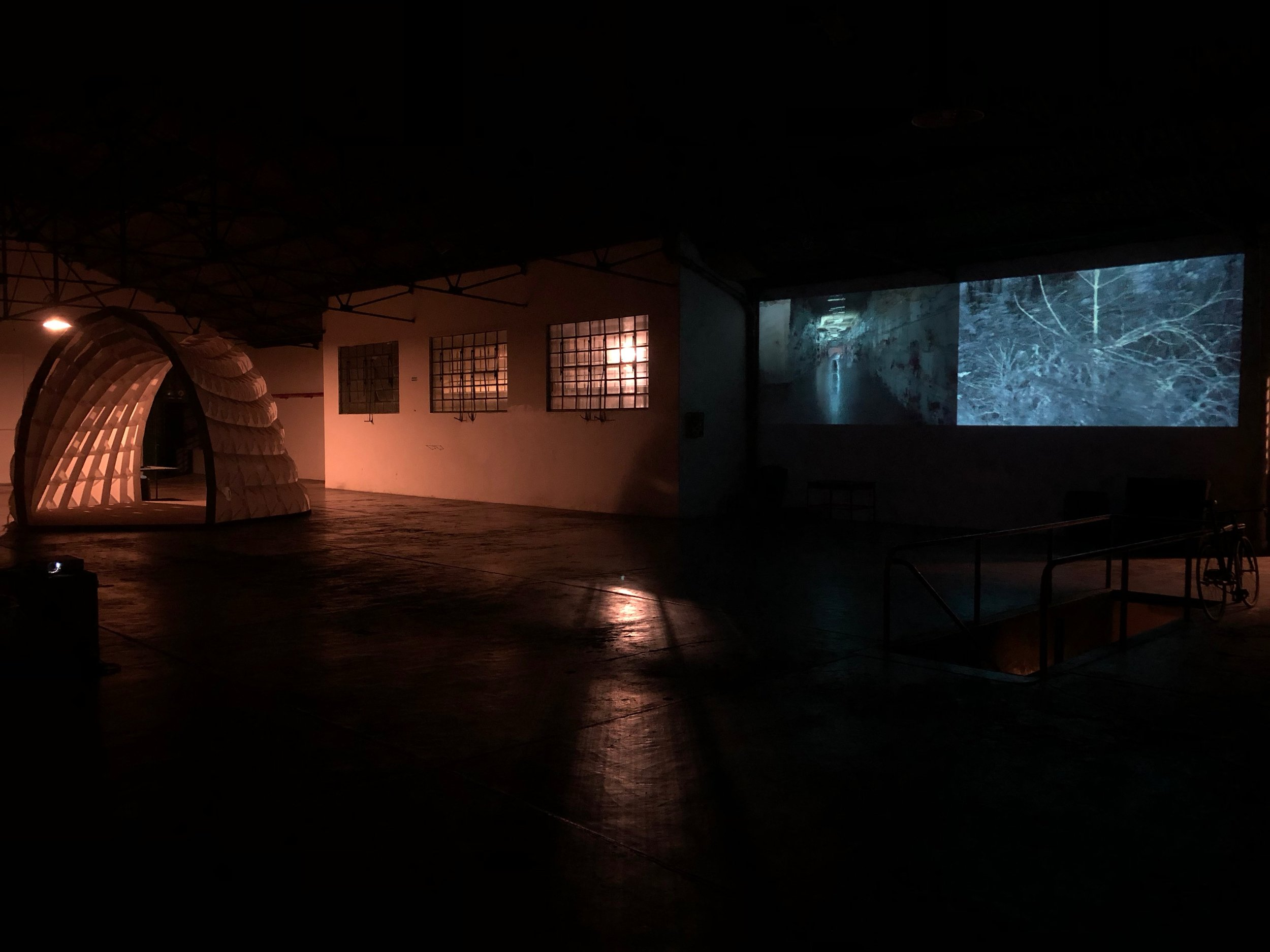 Installation shot at La Ira de Dios in Buenos Aires, Argentina. Initial test footage from Yellow Fever Graves and Post-Cyclone Bombs.