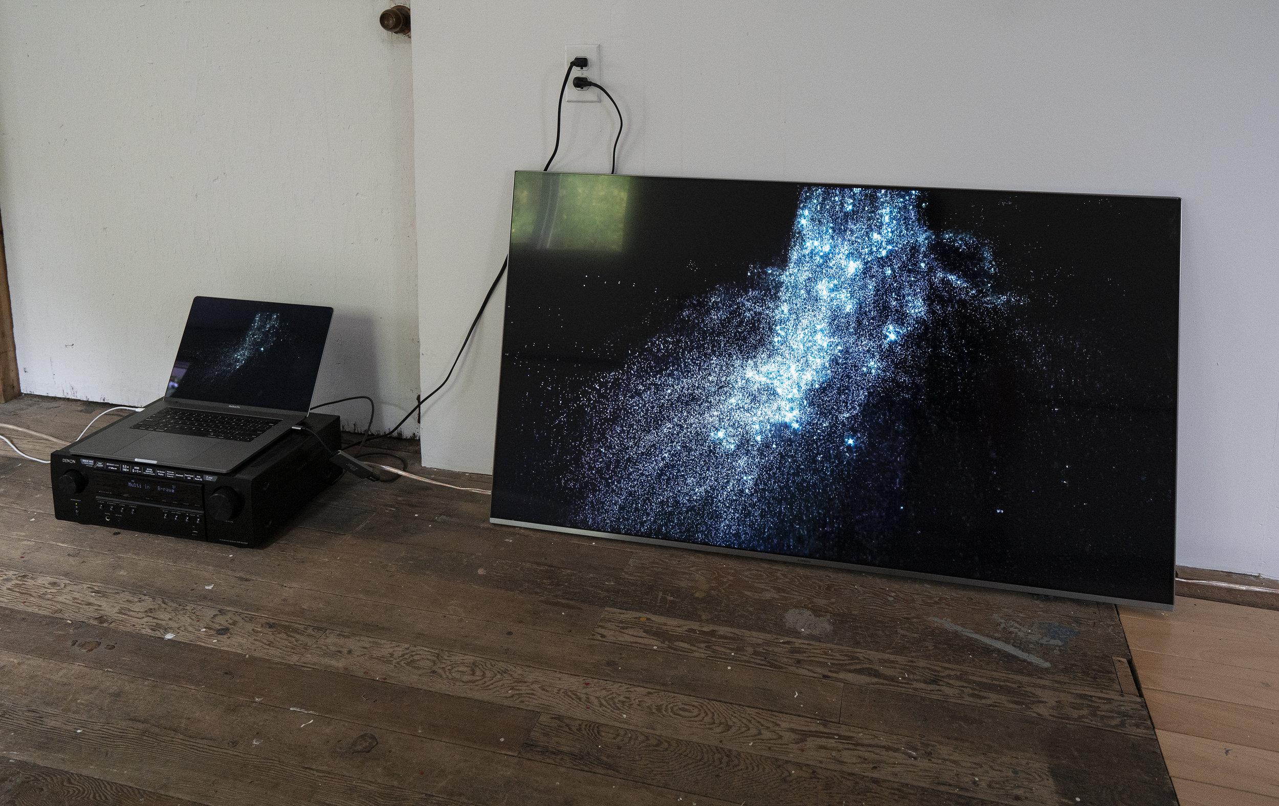 "Kingdom of Illumination. 55"" 4K TV, 15"" laptop, and sound (musical score by Gary James Joynes)."