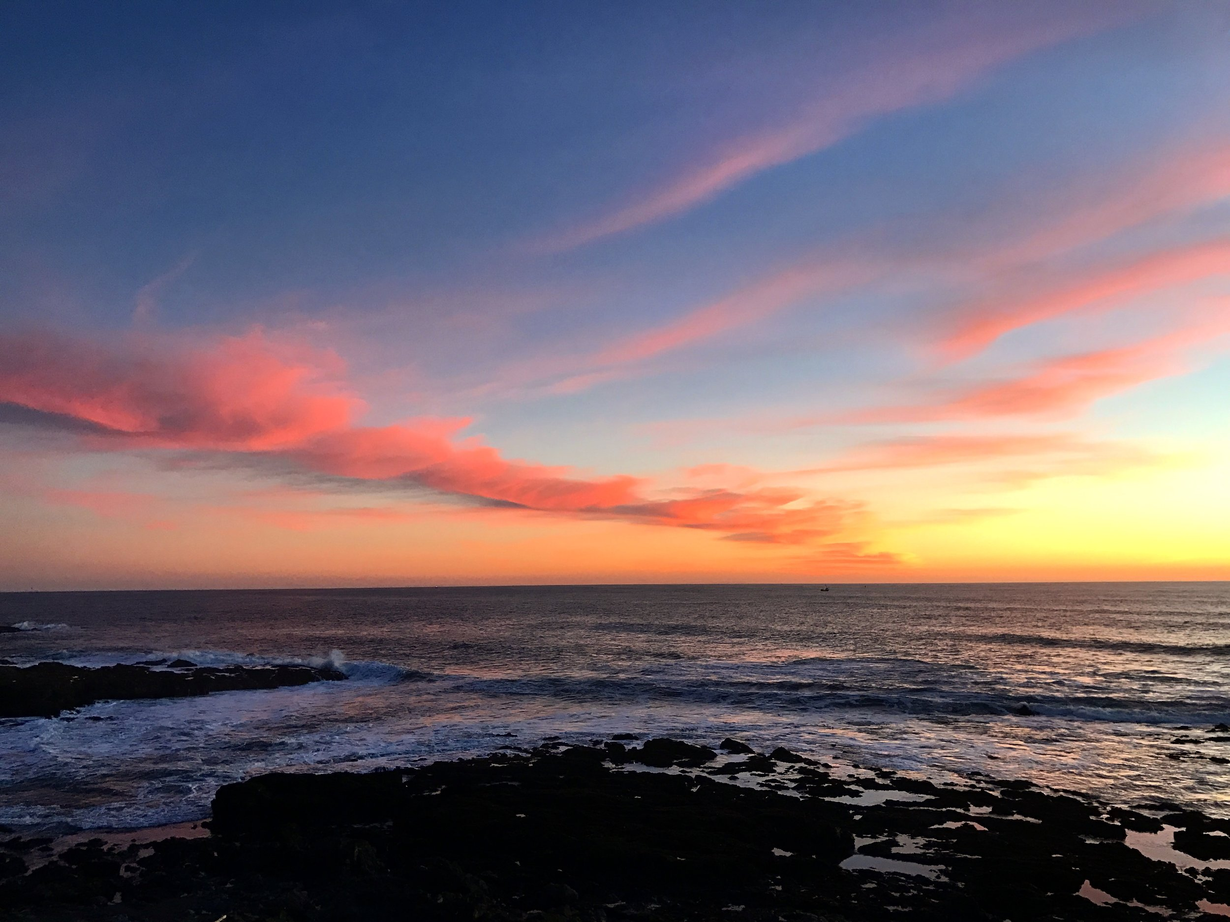 Sunset at Shelter Cove in California