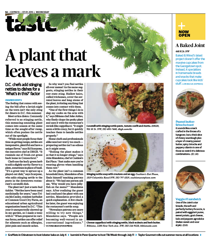 Washington Post Express, Taste section,July 1, 2015