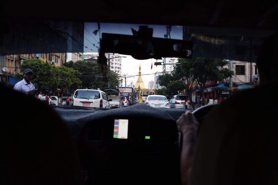 Downtown traffic in Yangon. December 2016.
