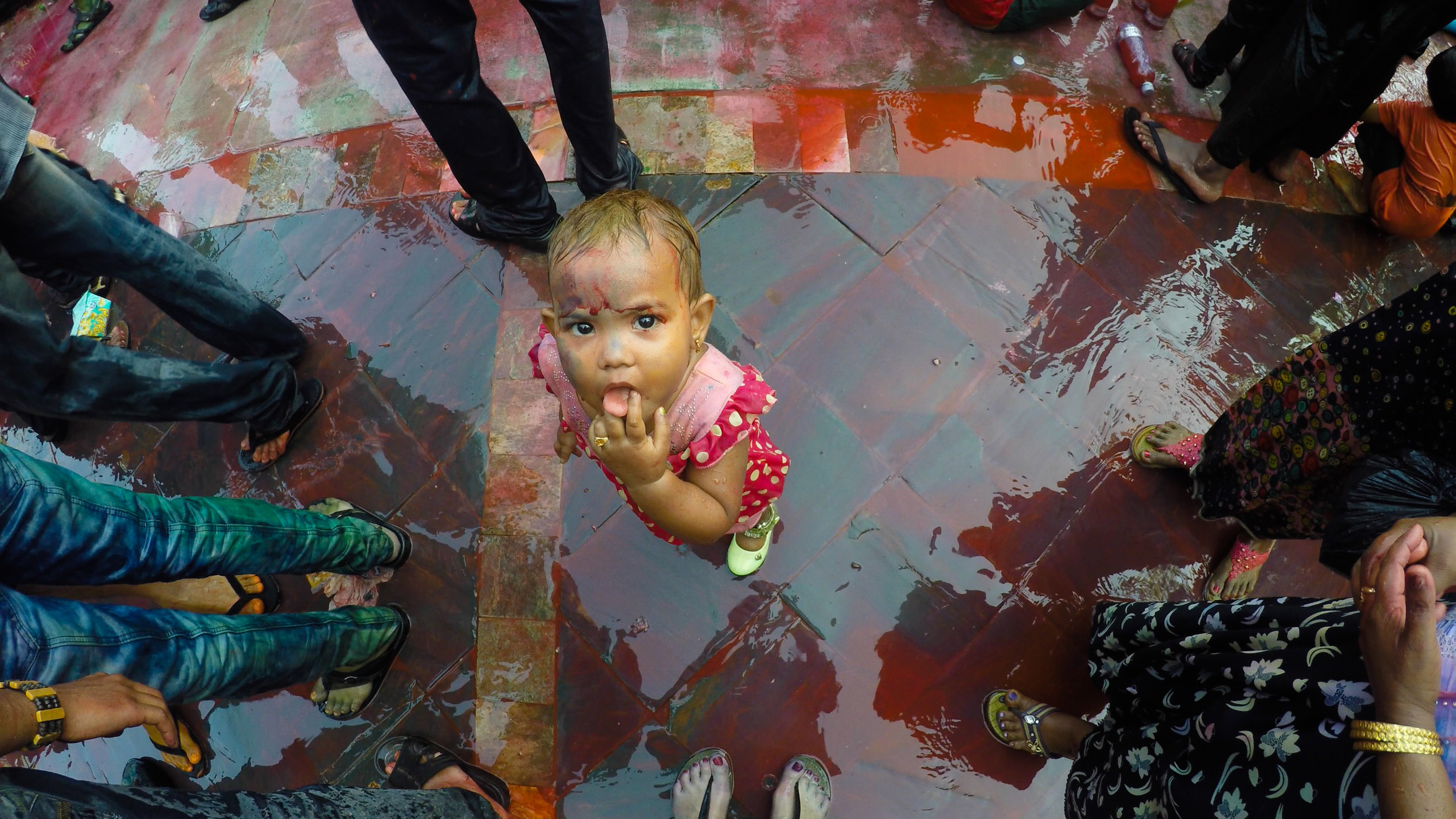 A young participant in the 2017 Holi Festival. Shot using a waterproof GoPro Hero 4. Kandawgyi Lake, Yangon.