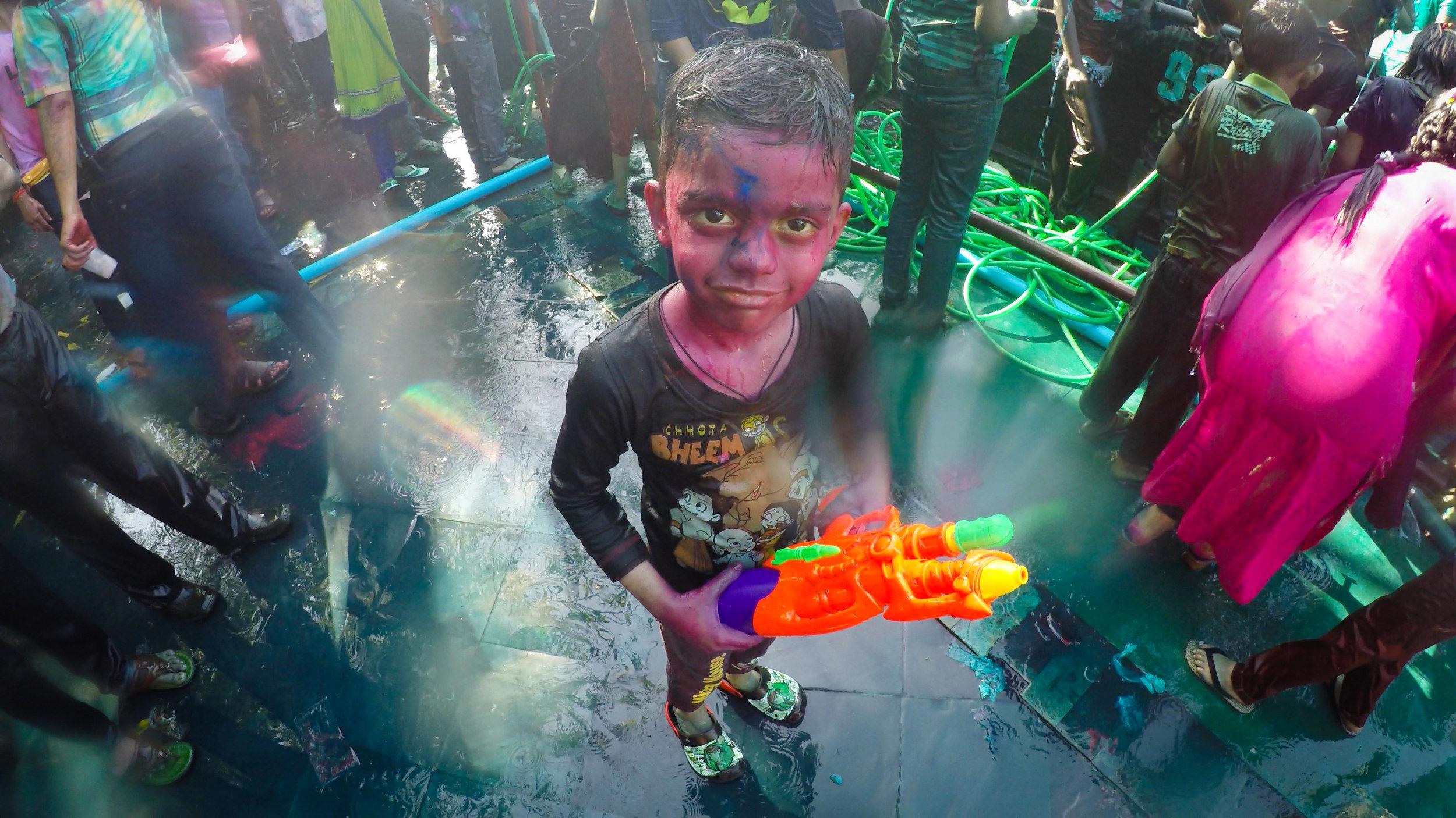 A common sight at the 2017 Holi Celebration in Yangon. Shot using a waterproof GoPro Hero 4. Kandawgyi Lake, Yangon.