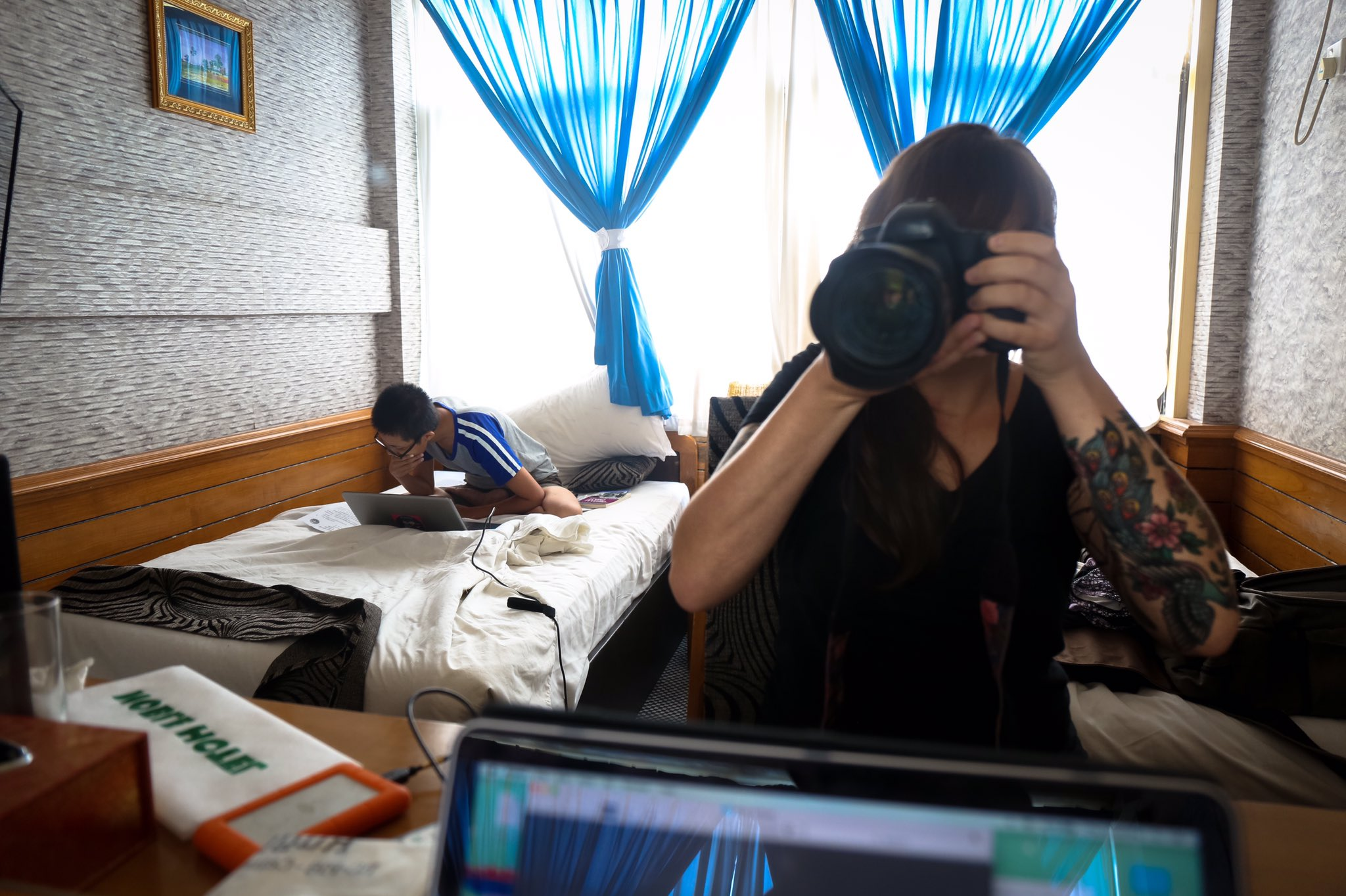 Working with Frontier report Su Myat Mon in our hotel room in Sittwe, Rakhine State.
