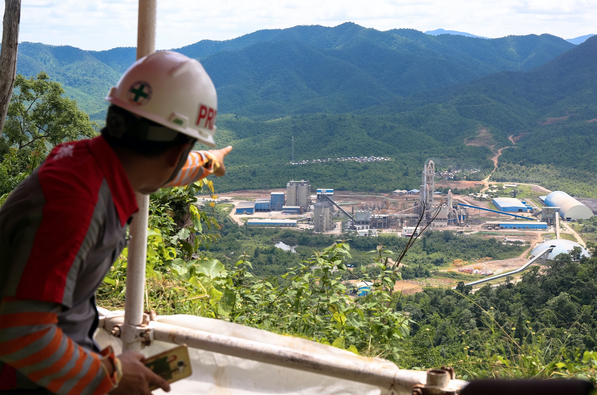 Shwe Taung's cement plant, as seen from their property's viewpoint overlook. July 2017