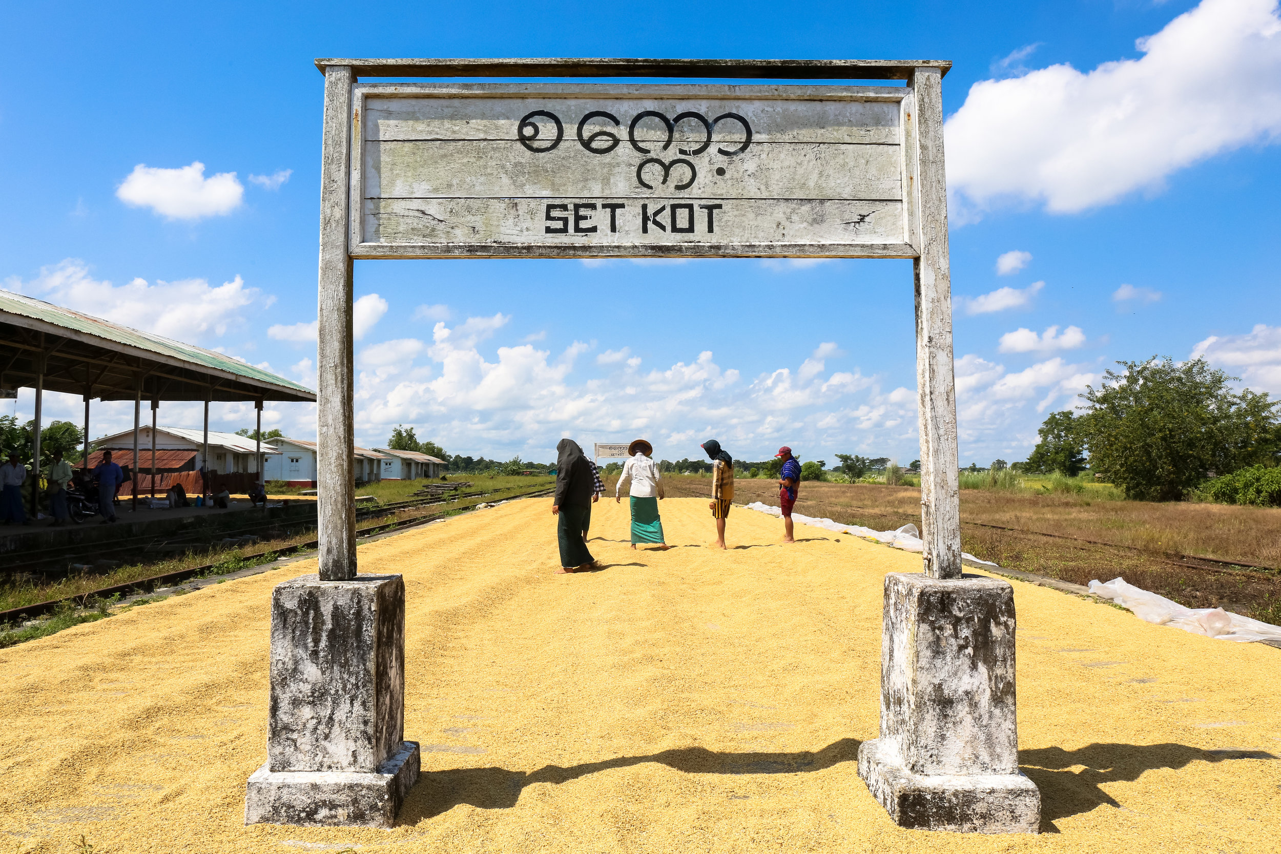 Rice is dried at a train station built under military-junta rule. Irrawaddy Region, Myanmar.