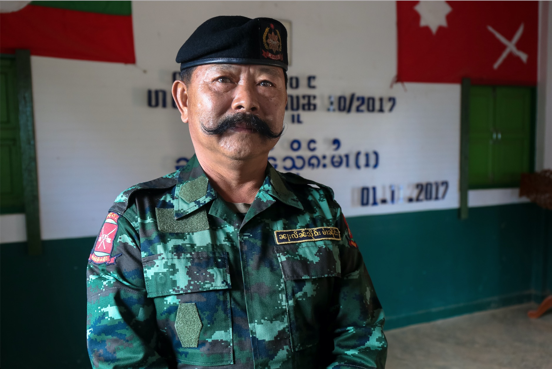 Shan State Army Commander in a Shan State IDP camp. November 2017