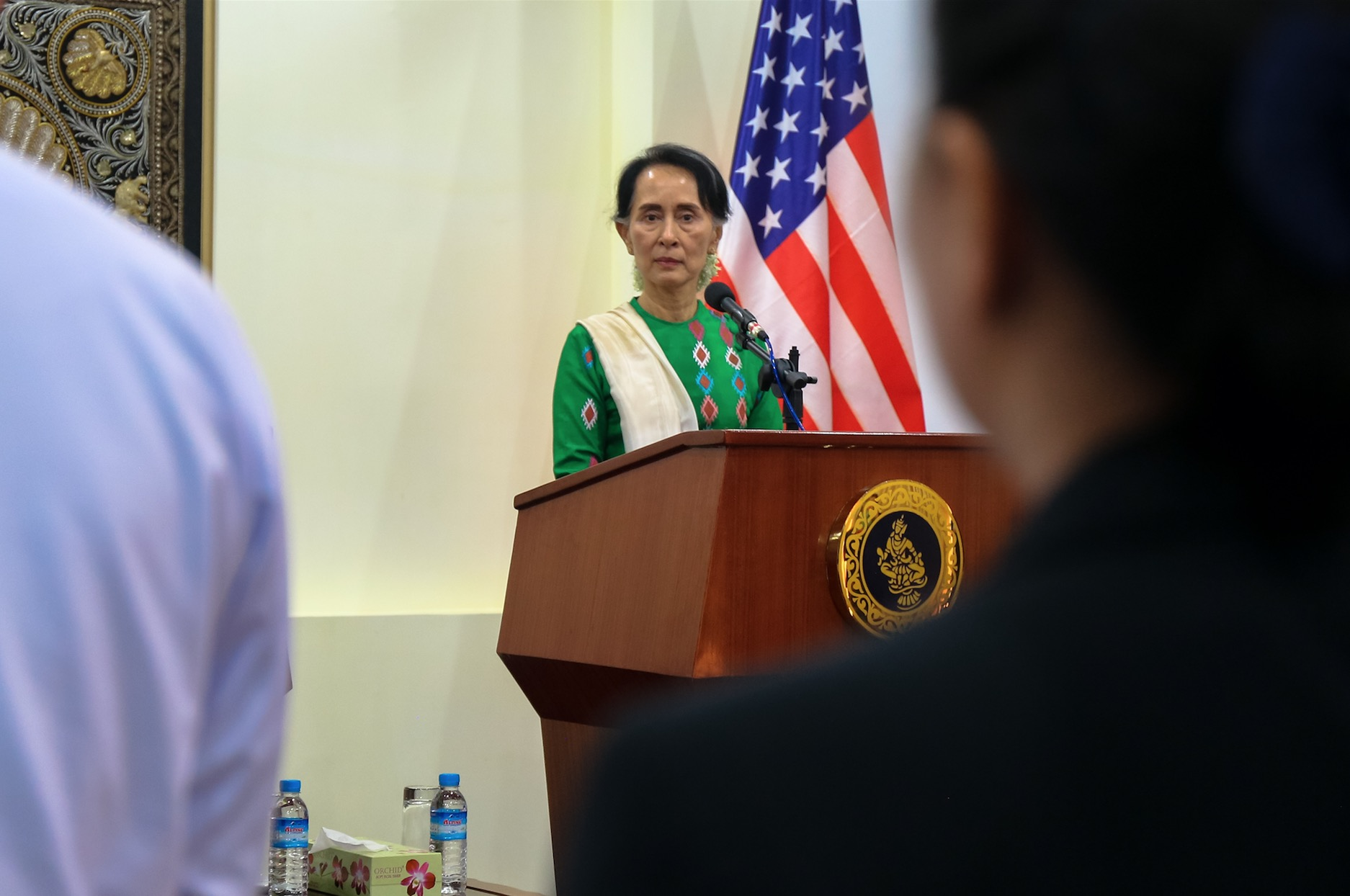Aung San Suu Kyi in Nay Pyi Taw during a press conference with Rex Tillerson. November 2017