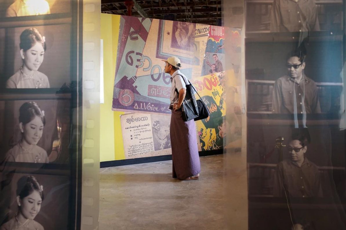 An attendee looks at an installation at the Secretariat. March 2018