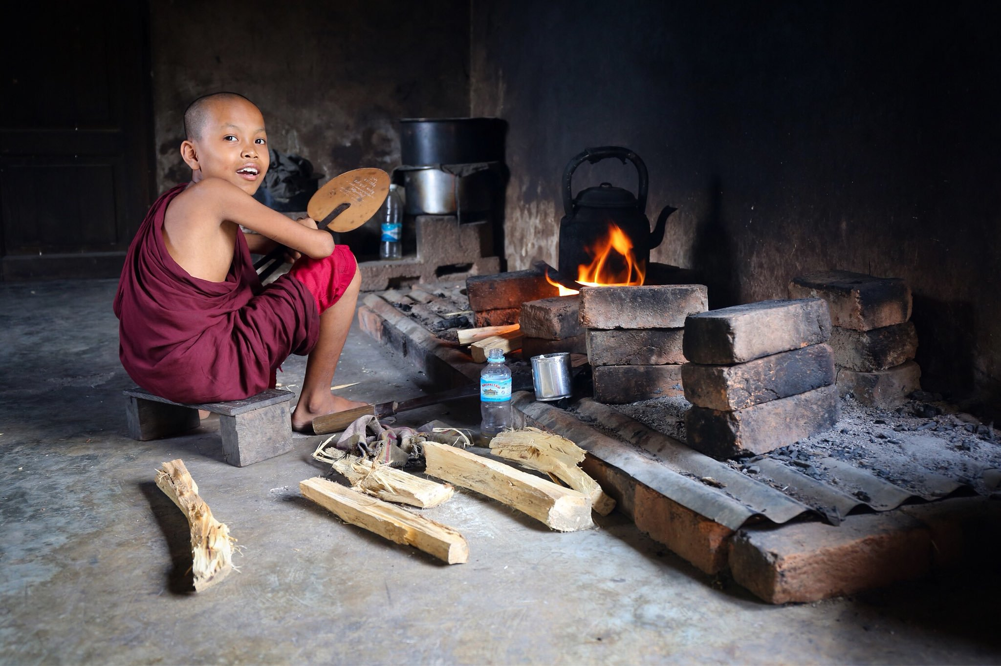This buddy made me an amazing lunch. The elder monk at the monastery told us he became a monk after a harrowing near-death experience during the cyclone. Irrawaddy Division, Myanmar.