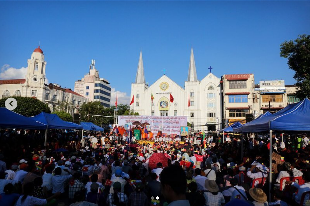 Attendees of the pro-military nationalist rally in Yangon.