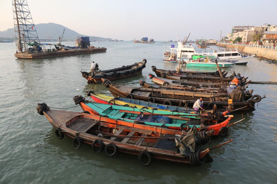 Boats at port of Myeik, one of Myanmar's southernmost cities.