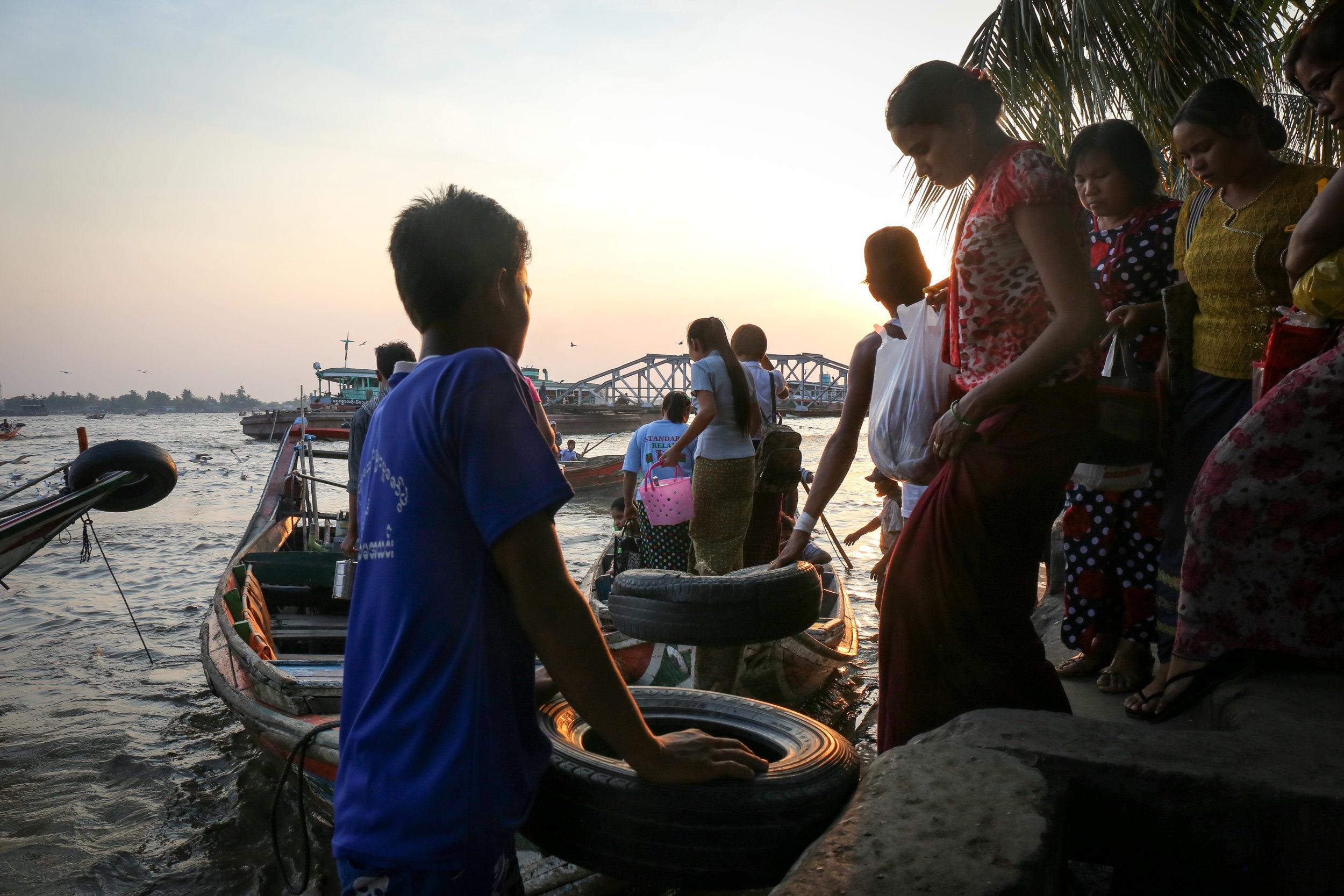 Yangon jetty at sunset.
