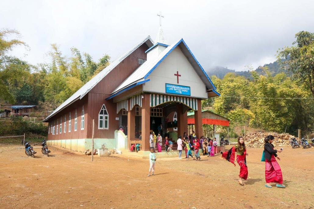 Church lets out on Sunday in Lahe, Nagaland.
