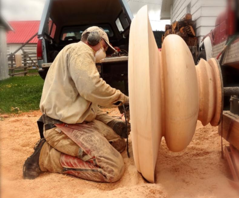 large woodturning in progress