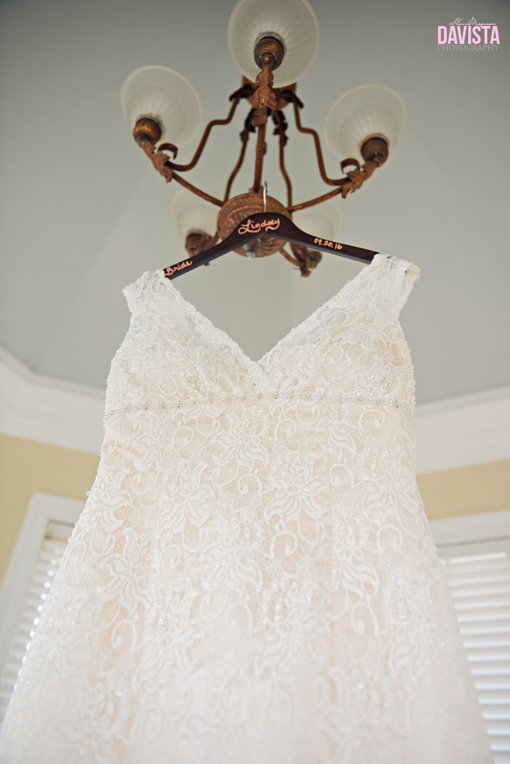 wedding dress and specialized hanger
