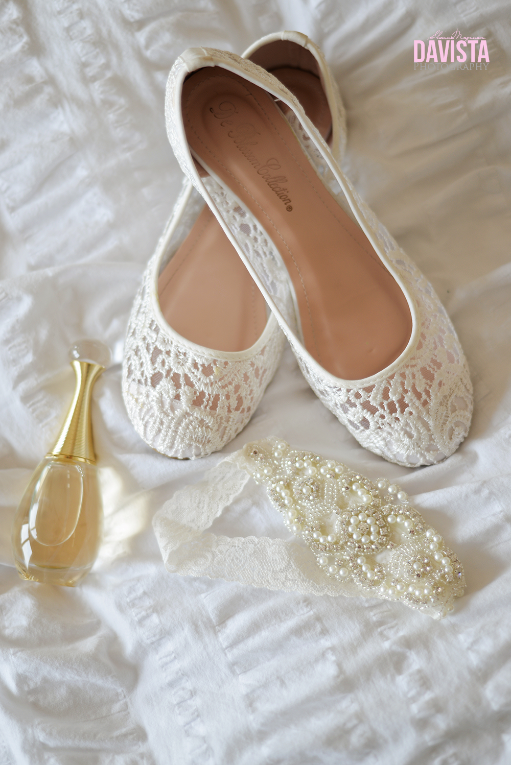 white shoes perfume and garter