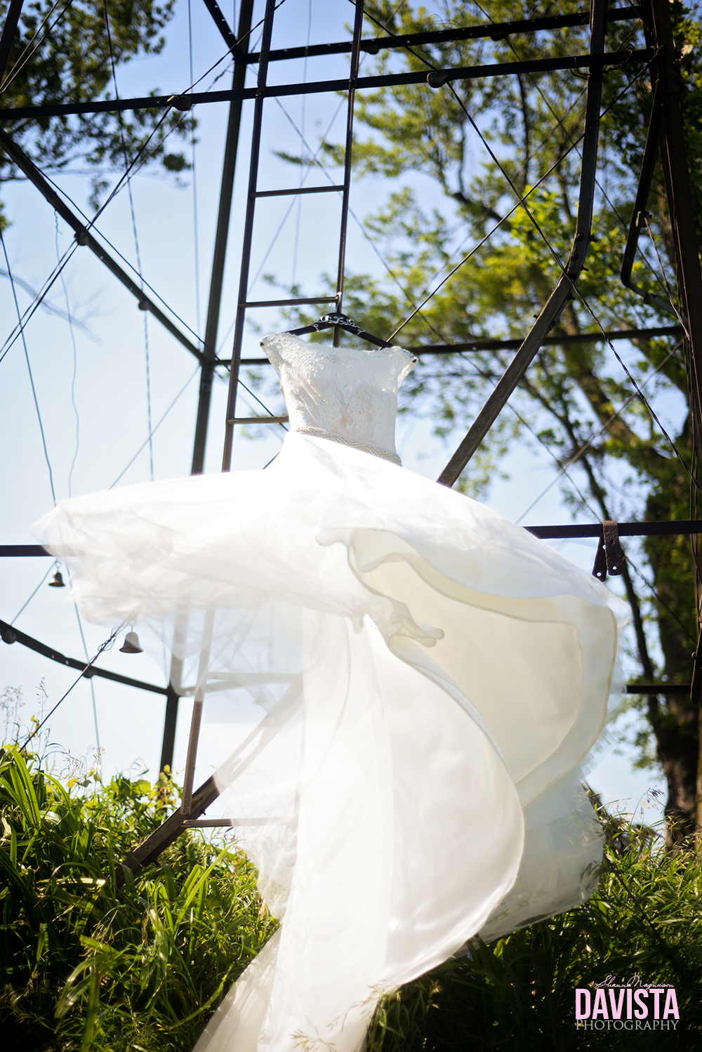 minnesota bridal gown blowing in the wind