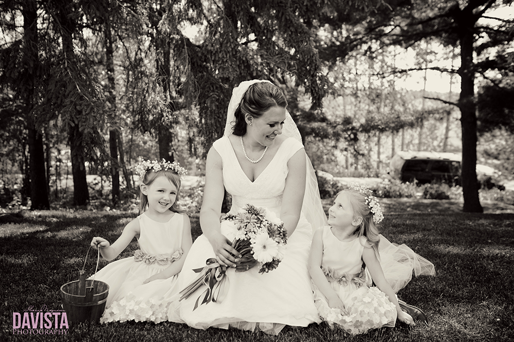 bride and her flower girls