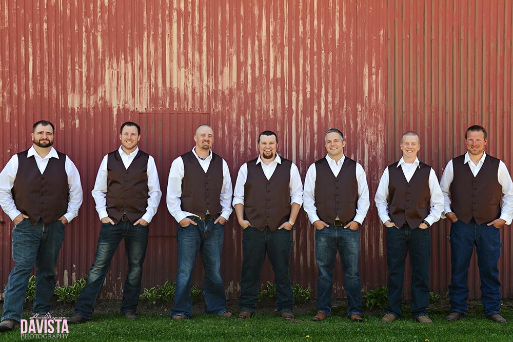 rustic chic wedding groomsmen in cowboy boots