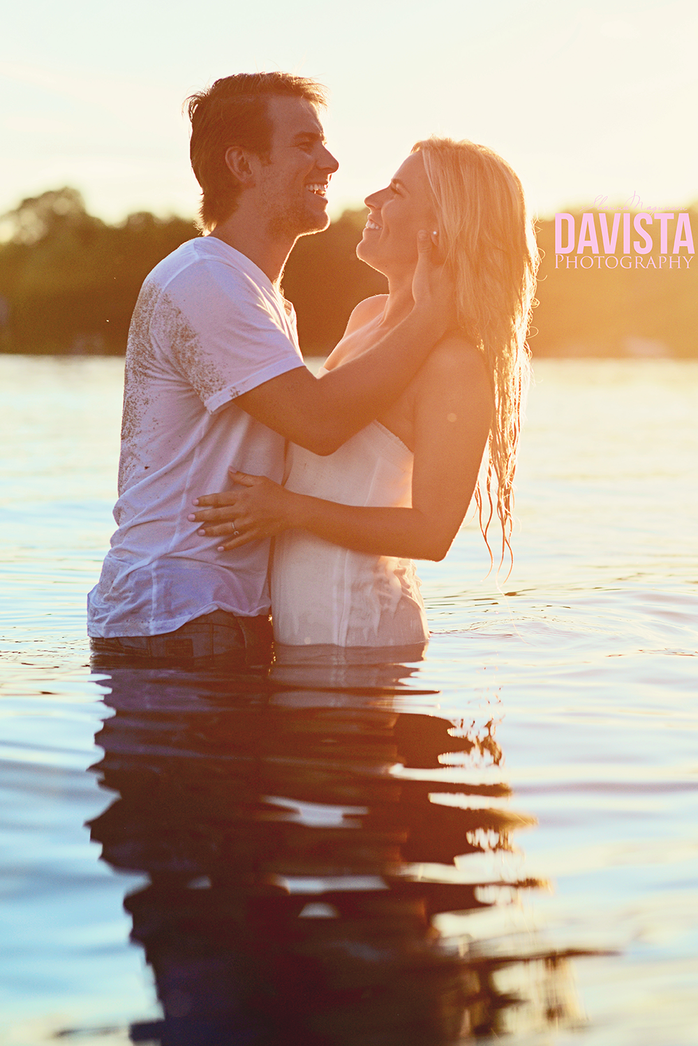 laughter between lovers in the water