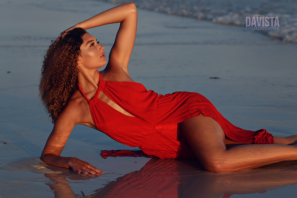 gorgeous red dress on the beach