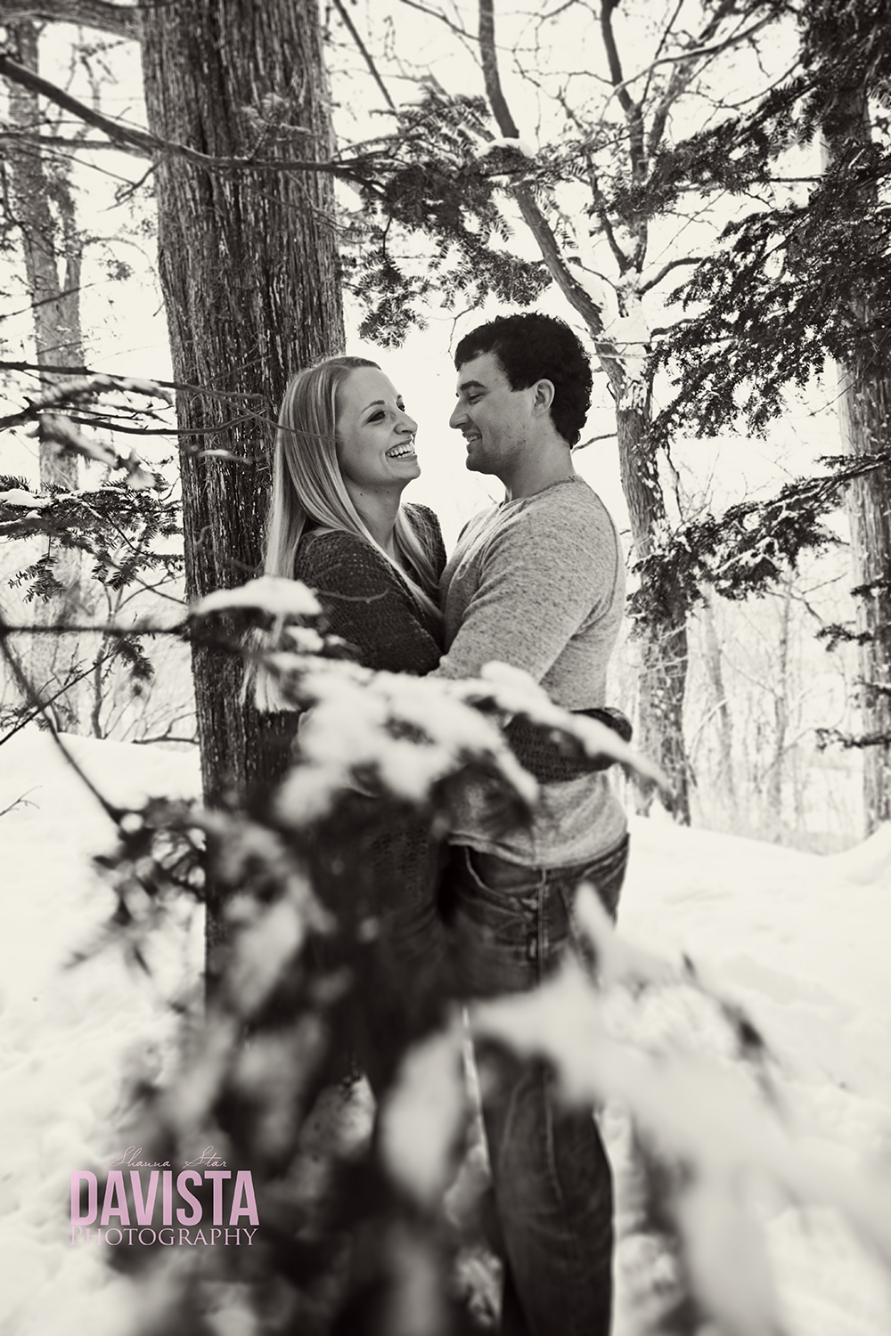 snow portraits couples