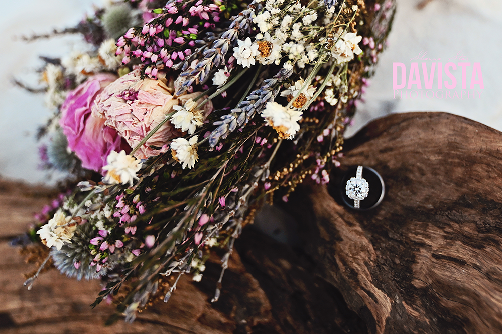 dried flowers wedding bouquet and drift wood