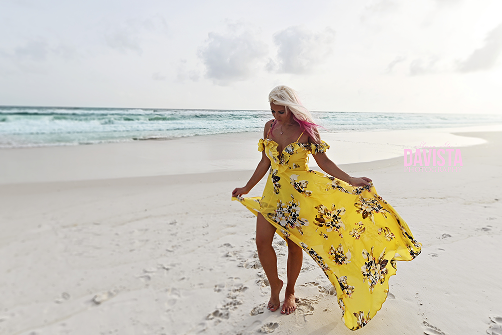 yellow dress on the beach- poses