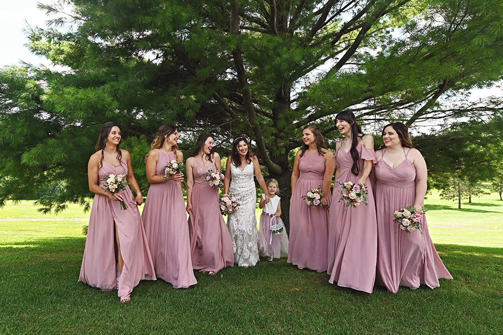 bridal party outdoor portraits wearing blush