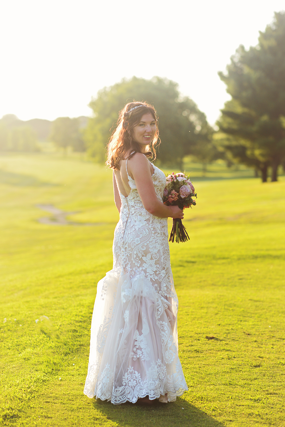 bridal portraits at sunset