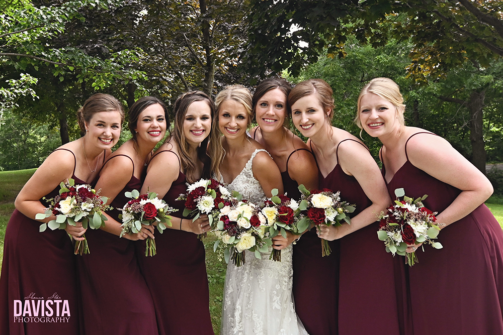 bride and her bridal party autumn wedding