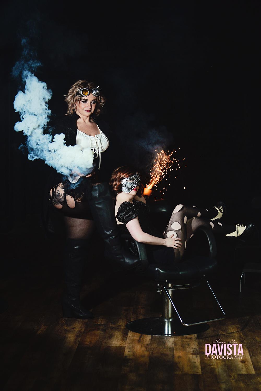 salon hairstylist dark halloween photoshoot