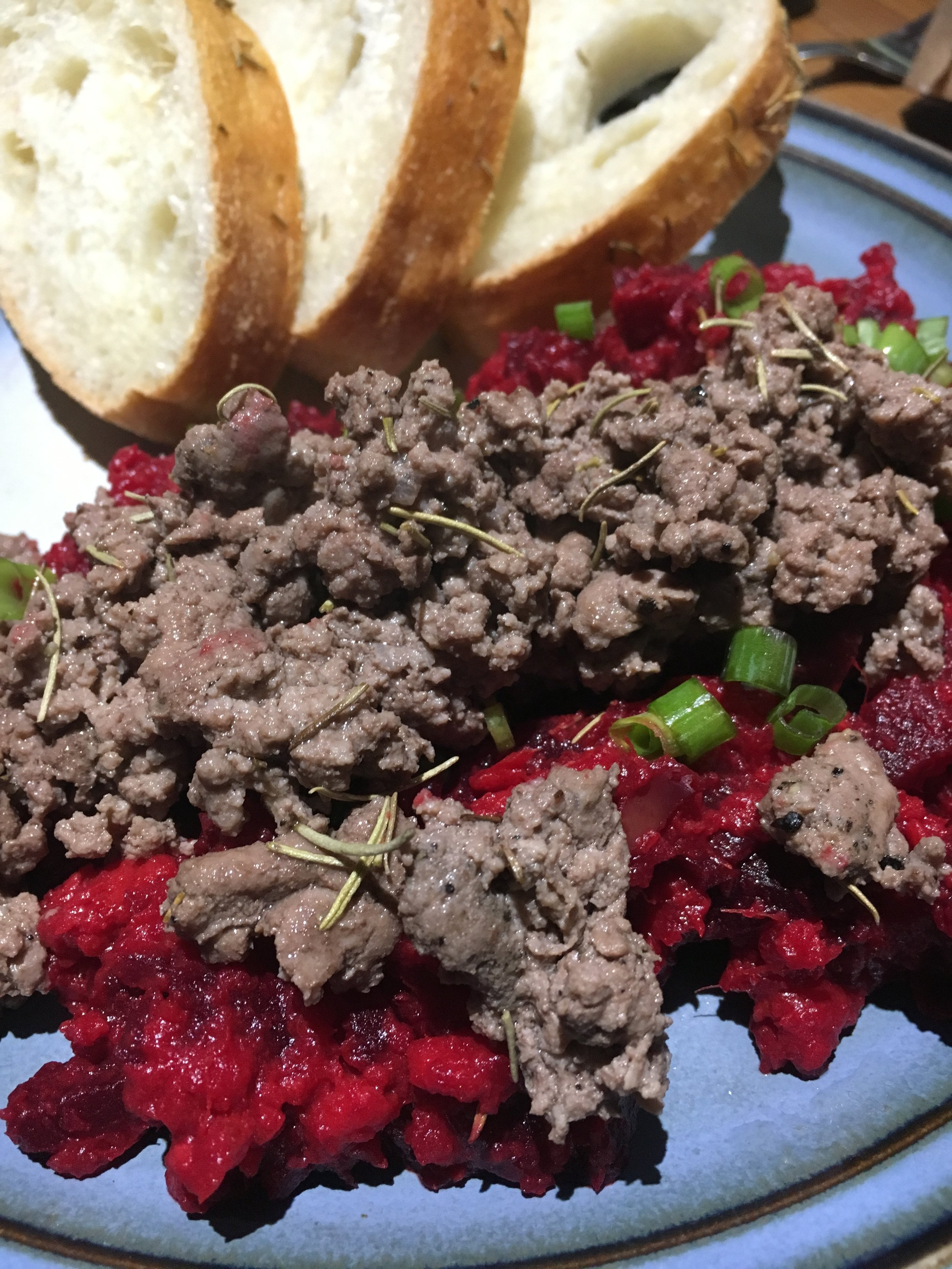 Mashed Beets, Ground Lamb & Sliced Bread